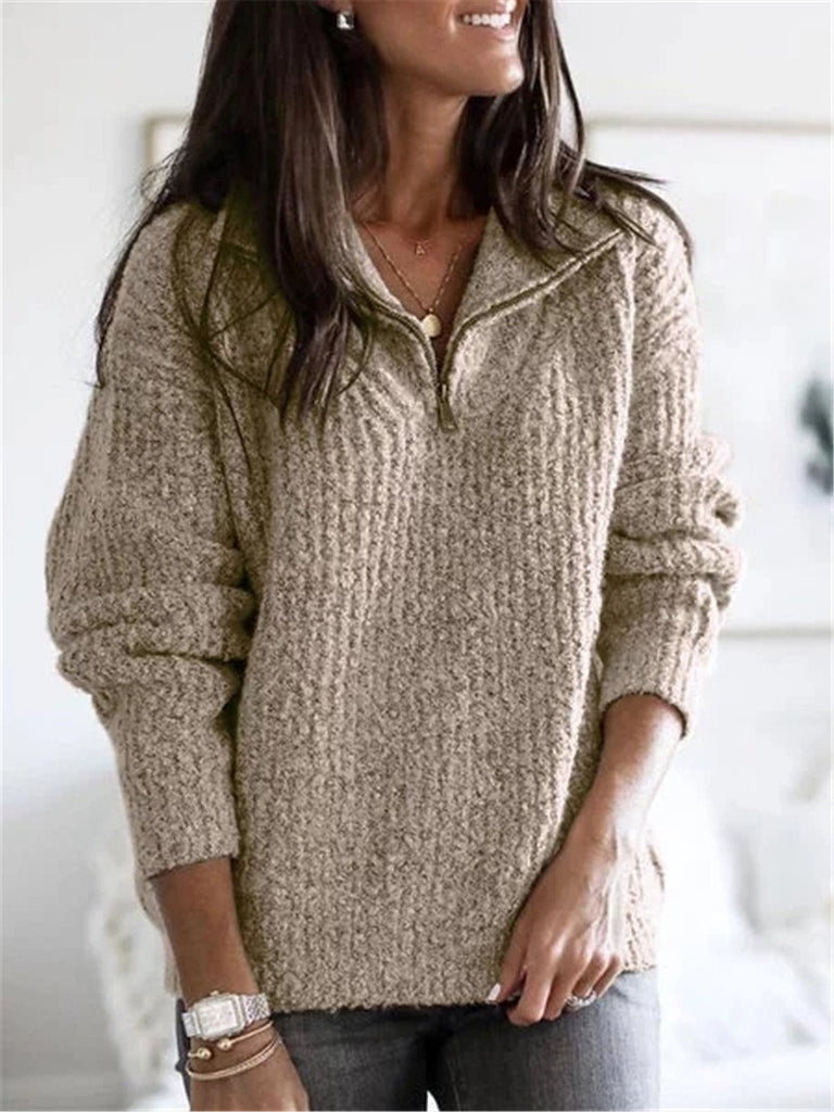 Chloebuy Long Sleeve Plain V Neck Casual Sweater