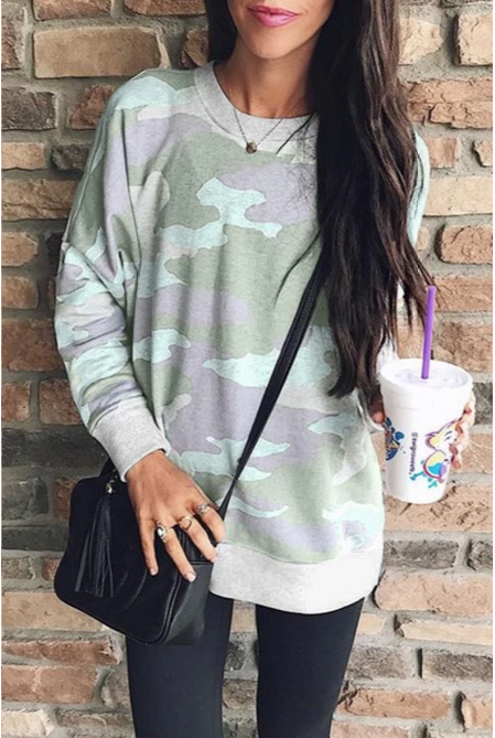 Chloebuy Long Sleeves Camouflage Printed Hoodie