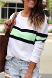 Chloebuy Striped Green Sweatshirt