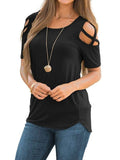 Chloebuy Women Casual Shoulder Strap T-Shirt