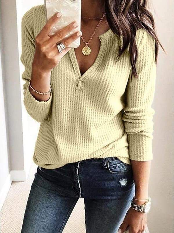 Chloebuy Pure Color Loose Knitted Top