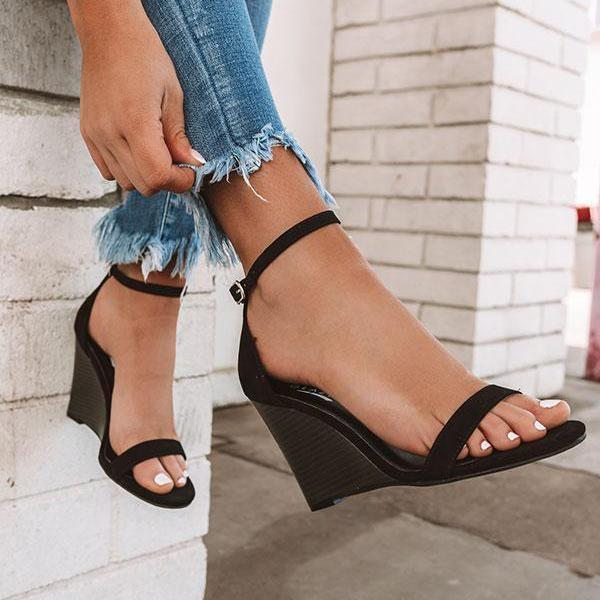 Chloebuy Adjustable Buckle Wedges Heels