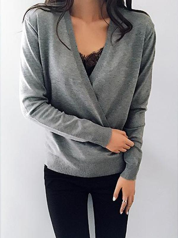 Chloebuy Deep V-Neck Wrap Front Loose Sweater