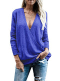 Chloebuy Slim Deep V Neck Solid Color Sexy Sweater