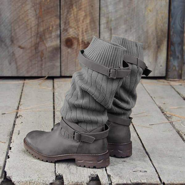 Chloebuy Cabin Sweater Paneled Boots