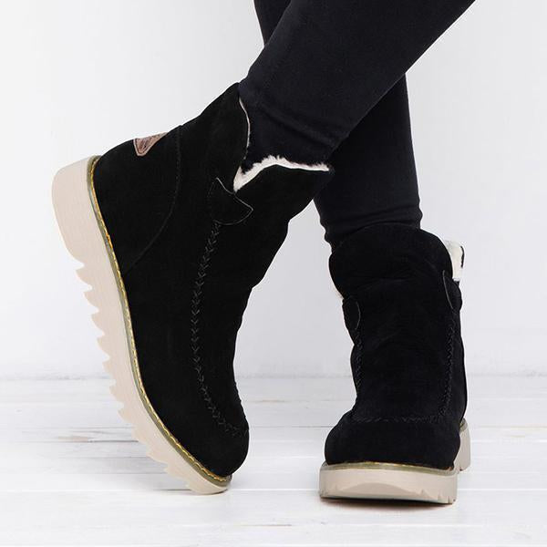 Chloebuy Fur Lining Ankle Snow Boots