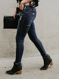 Chloebuy Slim-fit Hole-breaking Pencil Jeans