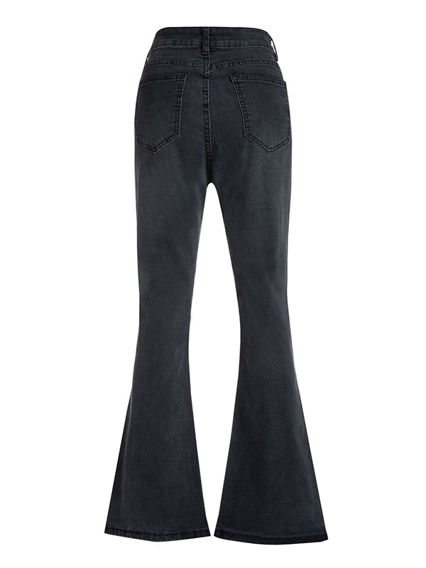 Chloebuy Fashion Black Simple High Waist Flared Jeans