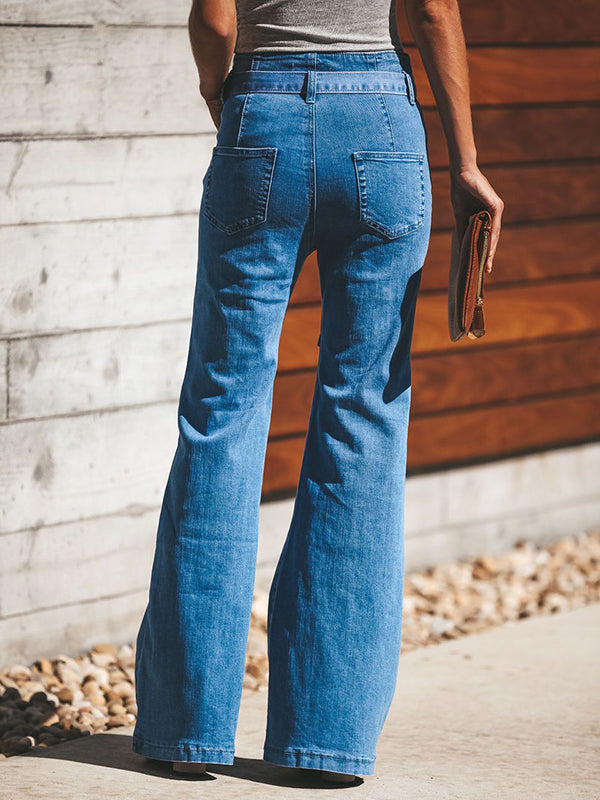 Chloebuy High-waist Wide-leg Flared Jeans