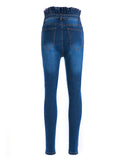 Chloebuy Fashion High Waist Flower Waistband Denim Jeans
