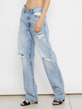 Chloebuy Loose Straight High-waist Denim Jeans