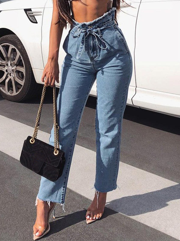 Chloebuy Trousers High Waist Plush Belt Jeans