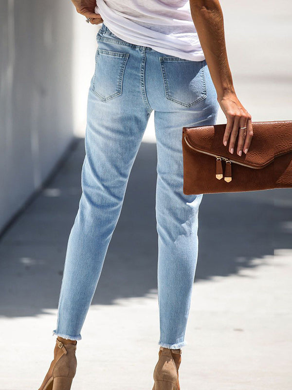 Chloebuy Belted Hole-breaking Jeans