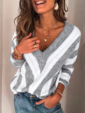 Chloebuy Plus Size V Neck Geometric Sweater (Ship in 24 Hours)