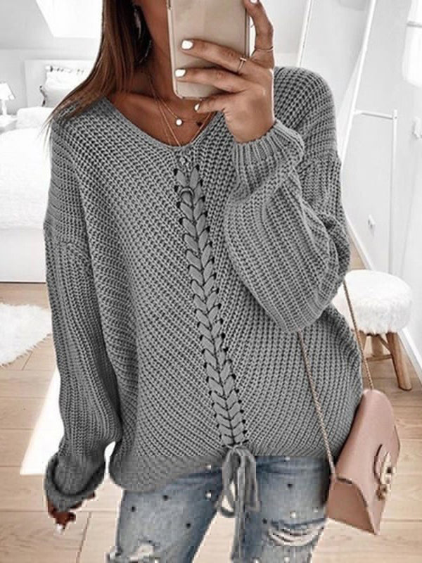 Chloebuy Loose Long Sleeve Stitching Pullover Sweater