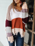 Chloebuy V Neck Long Sleeve Hem Irregular Sweater