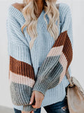 Chloebuy Stripe V Neck Puff Loose Sweater