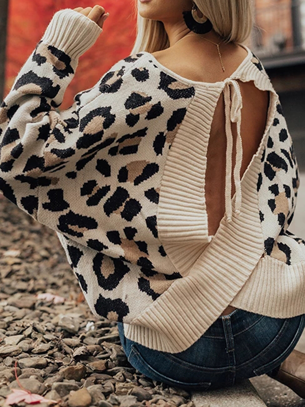 Chloebuy O-neck Open Back Sweater