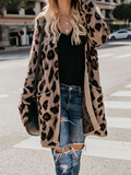 Chloebuy Collarless Flap Pocket Leopard Printed Outerwear Cardigans