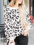Chloebuy Round Collar Leopard Print Long Sleeve Sweater