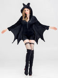 Chloebuy Halloween Cosplay Black Bat Vampire Women's Uniform