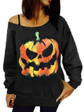 Chloebuy Halloween Pumpkin Print Strapless Off-Shoulder Sweatshirt