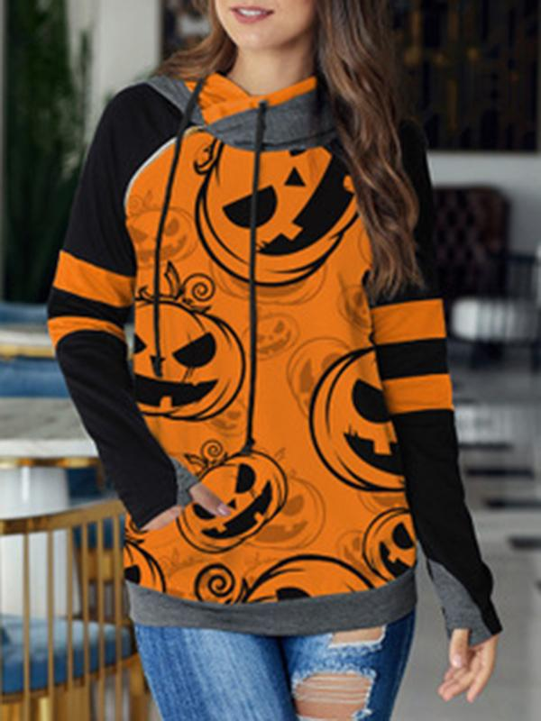 Chloebuy Halloween Pumpkin Print Hooded Double Hooded Loose Top