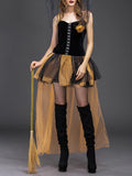 Chloebuy Masquerade Cosplay Yellow Skinny Witch Dress