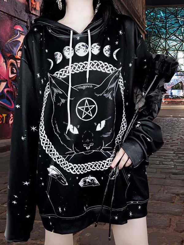 Chloebuy Street Gothic Cat Print Loose Hooded Sweater