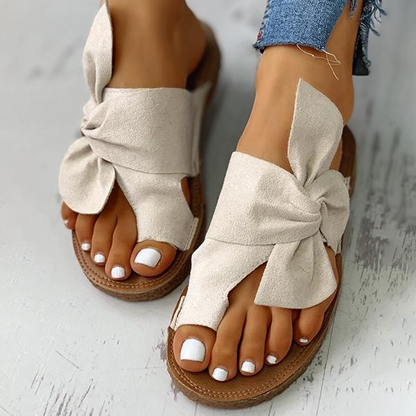 Chloebuy Bowknot Toe Ring Non-slip Slippers
