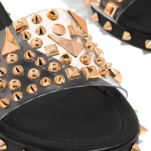 Chloebuy Multi-Sized Studs Clear Strap Slippers