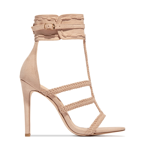 Chloebuy Almond Toe Adjustable Button Hemp Rope High Heeled Sandals