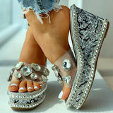 Chloebuy Open Toe Studded Rivet Wedge Slippers
