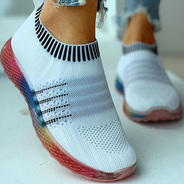 Chloebuy Colored Bottom Striped Breathable Casual Sneakers