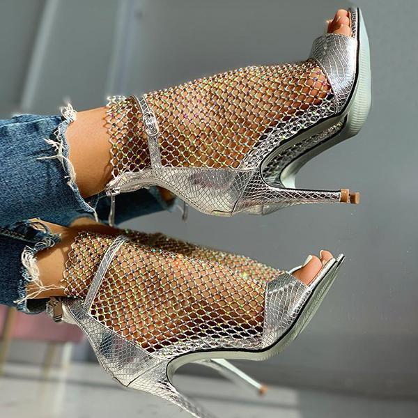 Chloebuy Studded Grid Mesh Open Toe Thin Heels