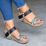 Chloebuy Low Heel Wedge Sandals