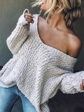 Chloebuy Off Shoulder Loose Sweater