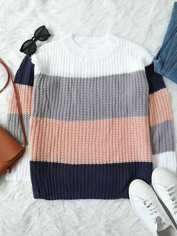 Chloebuy Casual Colorblock Sweater