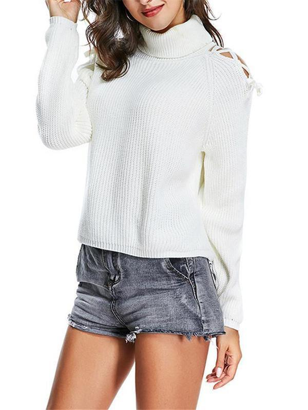 Chloebuy Tie Shoulder White Sweater