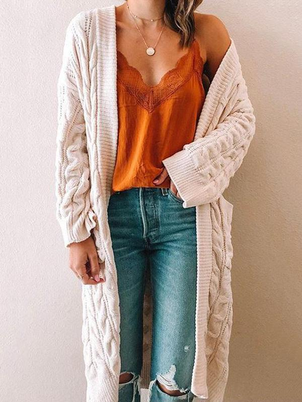 Chloebuy Twist Knit Pockets Cardigan