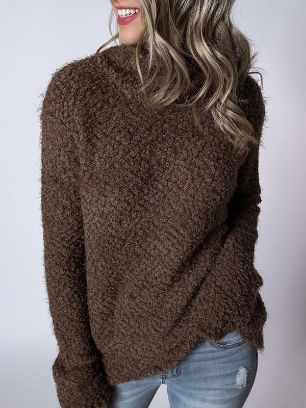 Chloebuy Crew Neck Solid Sweater