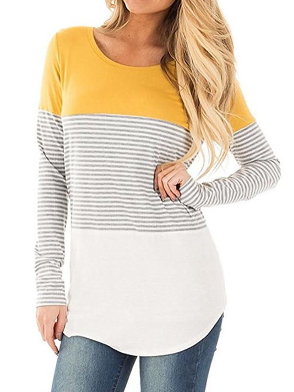 Chloebuy Long Sleeve Color Block Knits Sweater