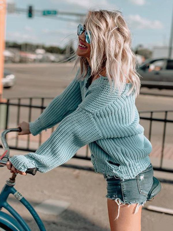 Chloebuy Sexy V-Neck Oversized Sweater