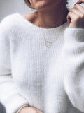 Chloebuy Sexy Deep V Neck Plain Sweaters