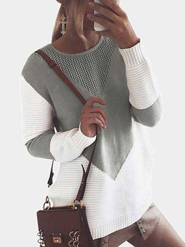 Chloebuy Crew Neck Loose Knitted Sweater