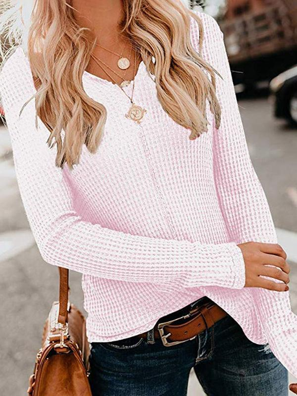 Chloebuy Spring Casual Solid Sweater