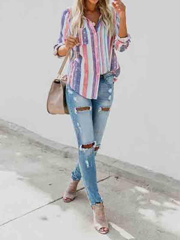 Chloebuy Colorful Striped Blouse