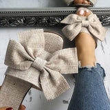 Chloebuy Women Casual Bow Flat Slippers