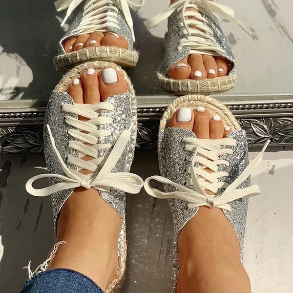 Chloebuy Casual Lace-Up Flats Sandals