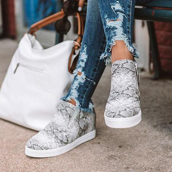 Chloebuy Daily Zipper Wedge Sneakers (Ship in 24 Hours)